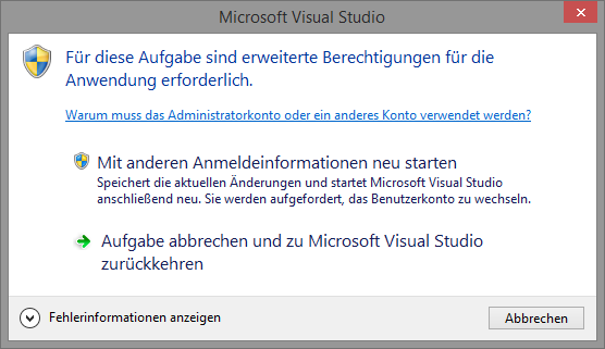 Visual Studio - UAC Meldung
